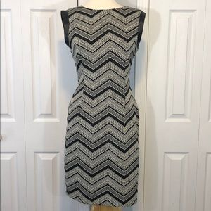 Bar III black and white dress with faux leather